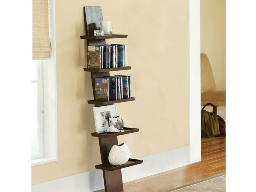 Open wall-mounted lacquered wooden bookcase YAT | Wall-mounted bookcase - Cinius