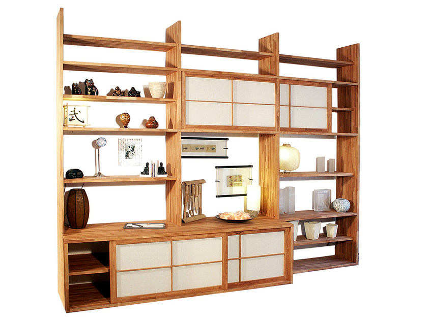 Freestanding lacquered wooden bookcase HARU A by Cinius