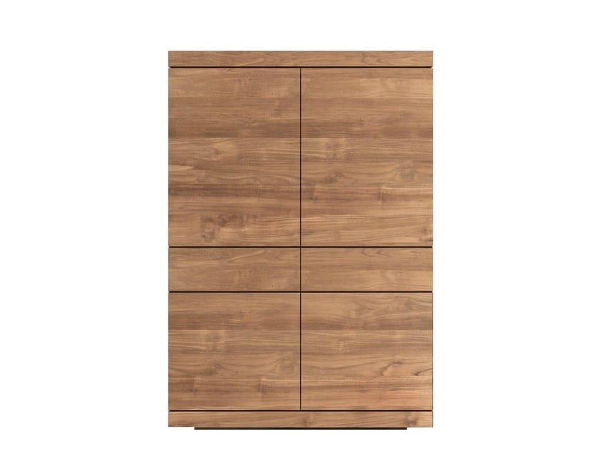 Solid wood highboard with doors TEAK BURGER | Highboard - Ethnicraft