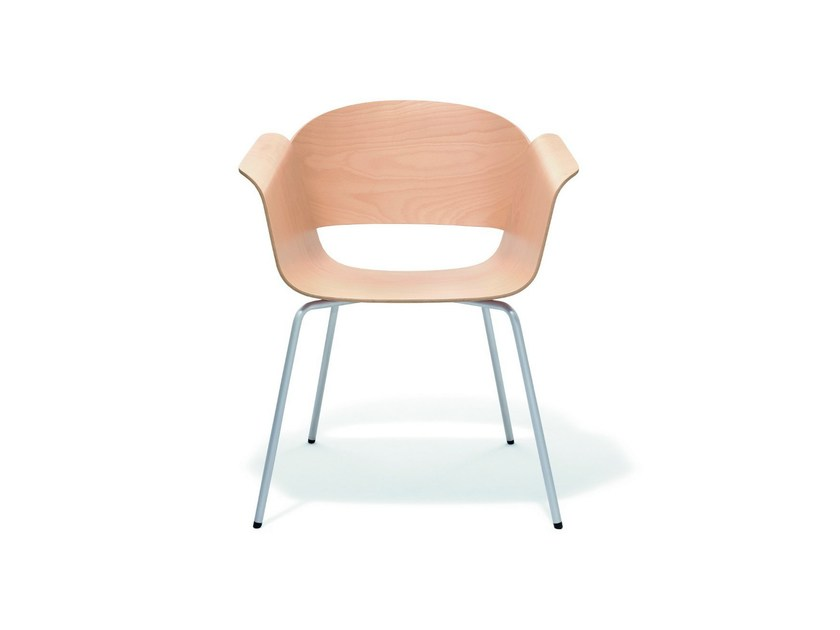 Wooden reception chair with armrests RONDO | Wooden chair - BENE
