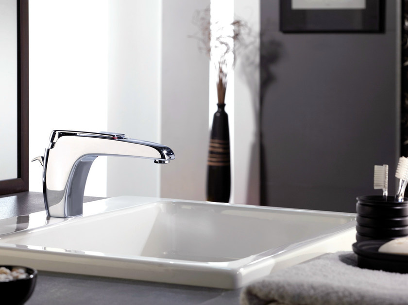Chrome-plated single handle washbasin mixer ATMOS | Chrome-plated washbasin mixer - Remer Rubinetterie