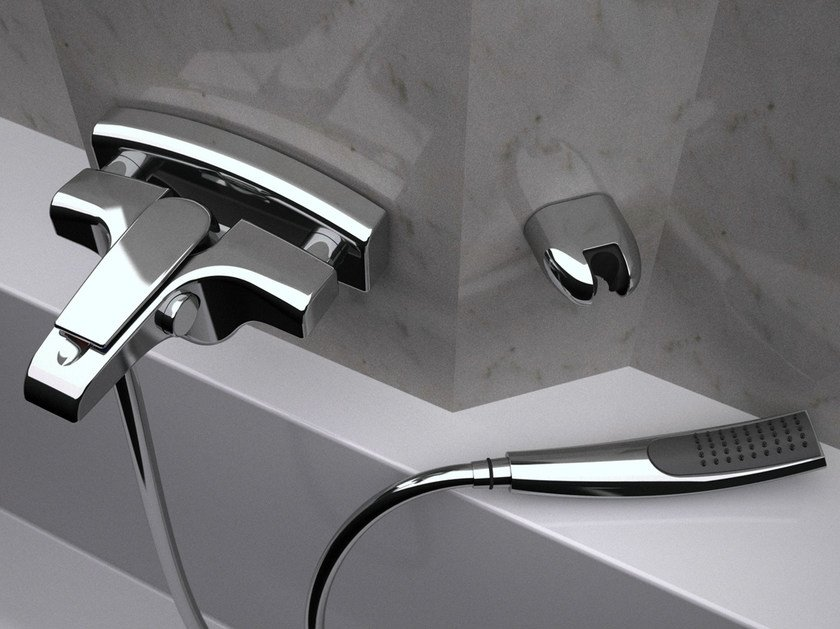Wall-mounted bathtub mixer with hand shower ATMOS | Bathtub mixer with hand shower - Remer Rubinetterie
