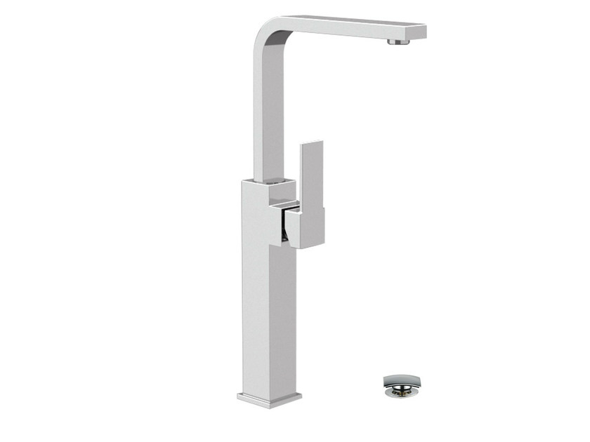 Chrome-plated washbasin mixer with adjustable spout QUBIKA | Washbasin mixer with adjustable spout - Remer Rubinetterie