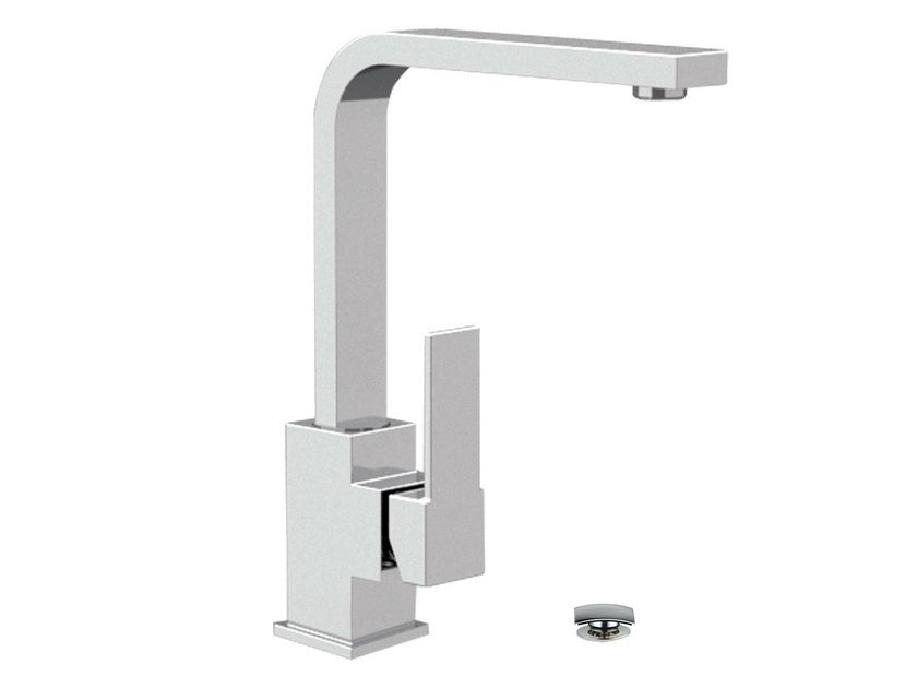 Chrome-plated single handle washbasin mixer with adjustable spout QUBIKA | Washbasin mixer - Remer Rubinetterie