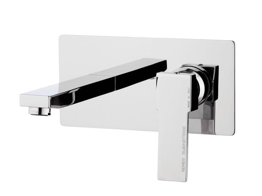 Wall-mounted single handle washbasin mixer with plate QUBIKA | Washbasin mixer with plate - Remer Rubinetterie