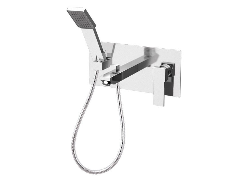 Wall-mounted bathtub mixer with hand shower with plate QUBIKA | Bathtub mixer with plate - Remer Rubinetterie