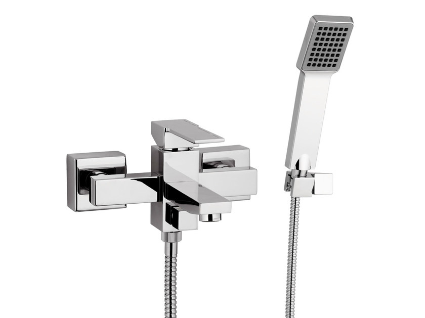 Wall-mounted chrome-plated bathtub mixer with hand shower QUBIKA | Wall-mounted bathtub mixer by Remer Rubinetterie