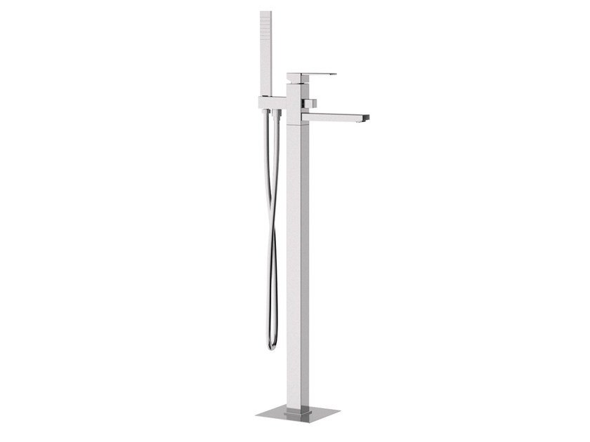 Floor standing bathtub mixer with hand shower QUBIKA | Floor standing bathtub mixer - Remer Rubinetterie