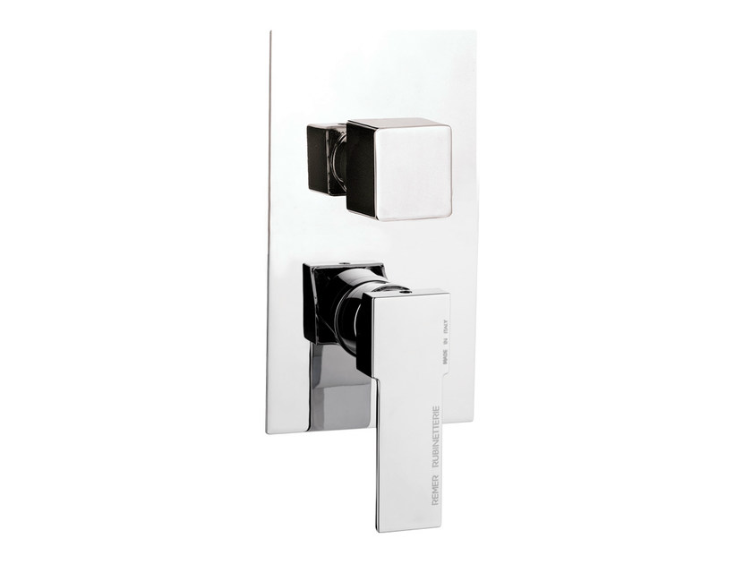 Chrome-plated single handle shower mixer with diverter QUBIKA | Single handle shower mixer - Remer Rubinetterie