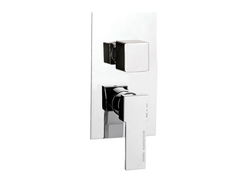 Chrome-plated single handle shower mixer with diverter QUBIKA | Shower mixer with diverter - Remer Rubinetterie
