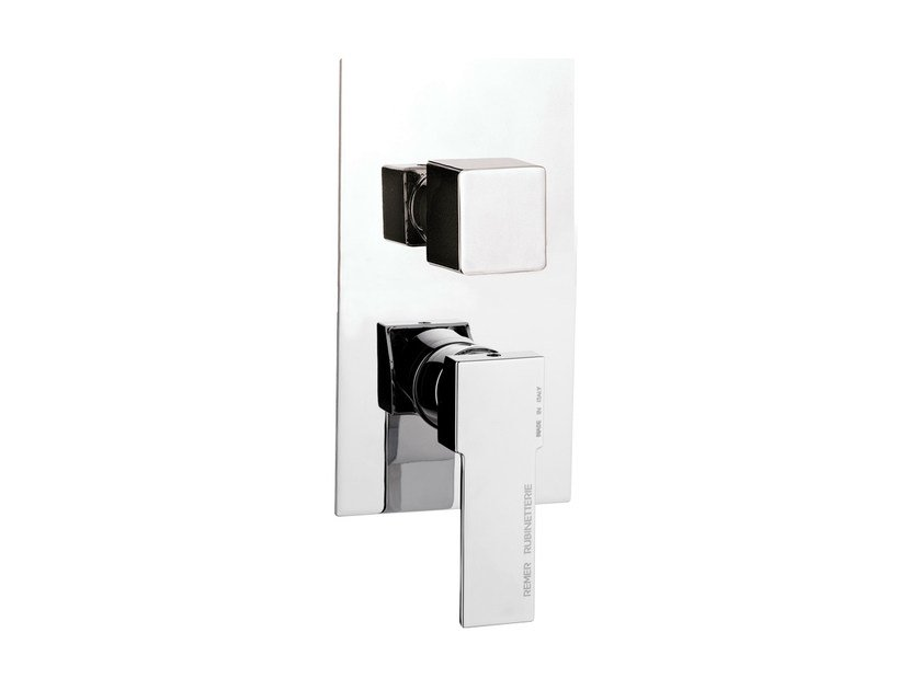 Shower mixer with diverter with plate QUBIKA | Chrome-plated shower mixer by Remer Rubinetterie