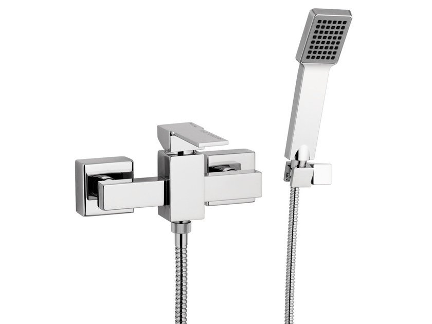 Chrome-plated single handle shower mixer with hand shower QUBIKA | Shower mixer with hand shower - Remer Rubinetterie