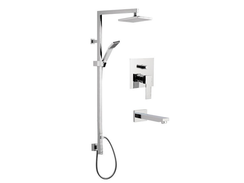 Wall-mounted shower panel with hand shower with overhead shower QUBIKA | Shower panel - Remer Rubinetterie