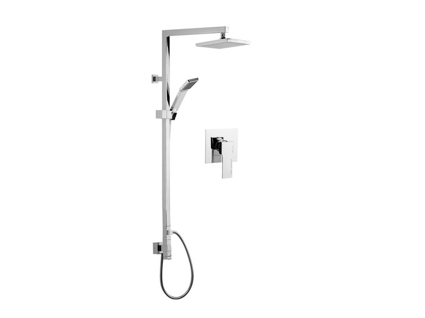 Wall-mounted shower column with hand shower with overhead shower QUBIKA | Wall-mounted shower panel by Remer Rubinetterie