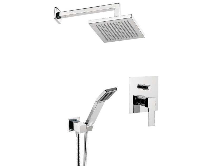 Built-in shower panel with overhead shower QUBIKA | Built-in shower panel - Remer Rubinetterie