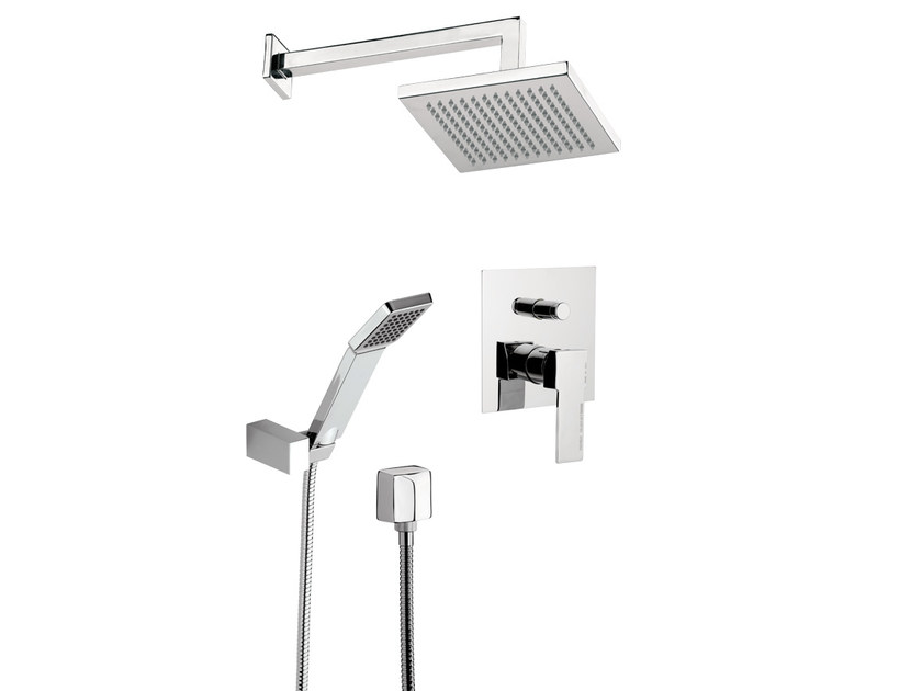 Shower mixer with hand shower with overhead shower QUBIKA SET - Remer Rubinetterie