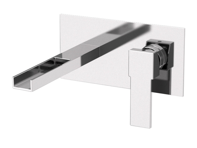 Wall-mounted washbasin mixer with plate QUBIKA CASCATA | Wall-mounted washbasin mixer - Remer Rubinetterie