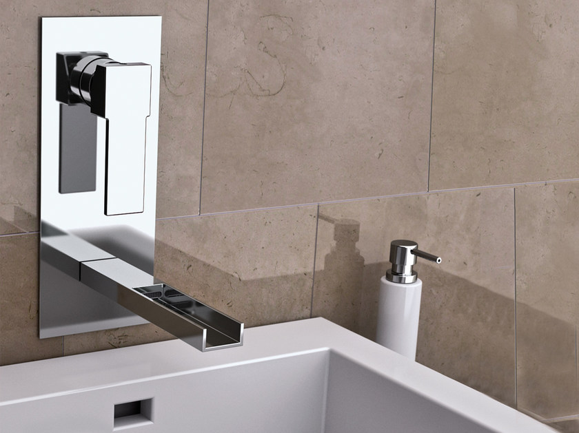 Wall-mounted washbasin mixer with plate QUBIKA CASCATA | Washbasin mixer with plate - Remer Rubinetterie