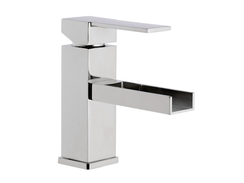 Chrome-plated washbasin mixer without waste QUBIKA CASCATA | Washbasin mixer without waste - Remer Rubinetterie