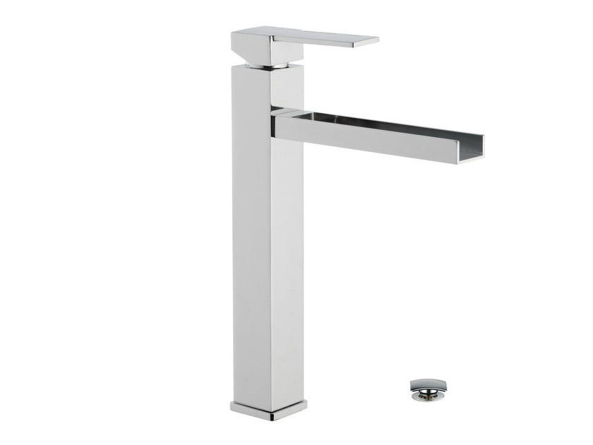 Chrome-plated single handle washbasin mixer QUBIKA CASCATA | Washbasin mixer - Remer Rubinetterie