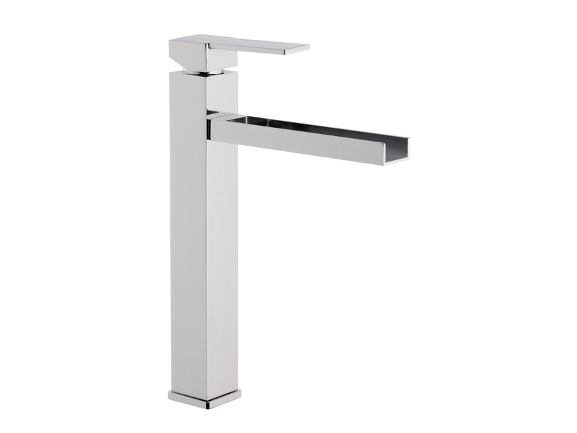 Chrome-plated single handle washbasin mixer QUBIKA CASCATA | Single handle washbasin mixer - Remer Rubinetterie