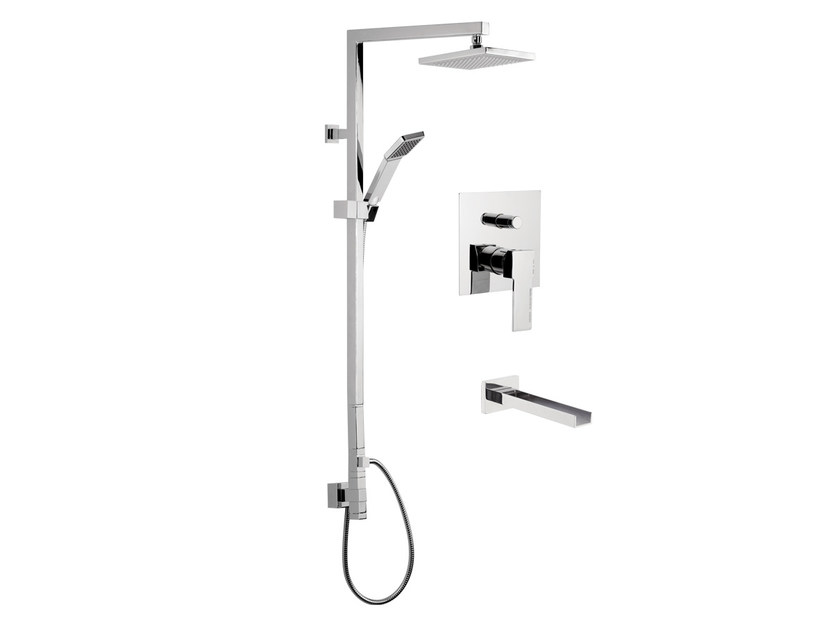 Wall-mounted shower column with hand shower with overhead shower QUBIKA CASCATA | Shower panel - Remer Rubinetterie