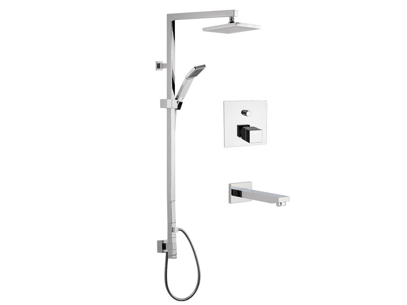 Thermostatic chromed brass shower column with hand shower with overhead shower QUBIKA THERMO | Shower panel - Remer Rubinetterie