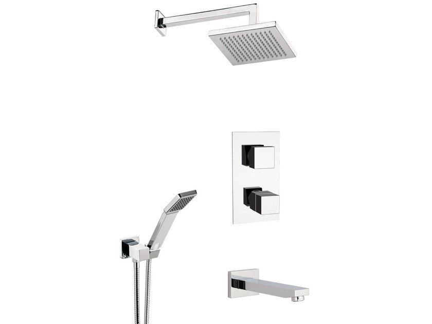 Shower mixer with overhead shower QUBIKA THERMO | Shower mixer - Remer Rubinetterie