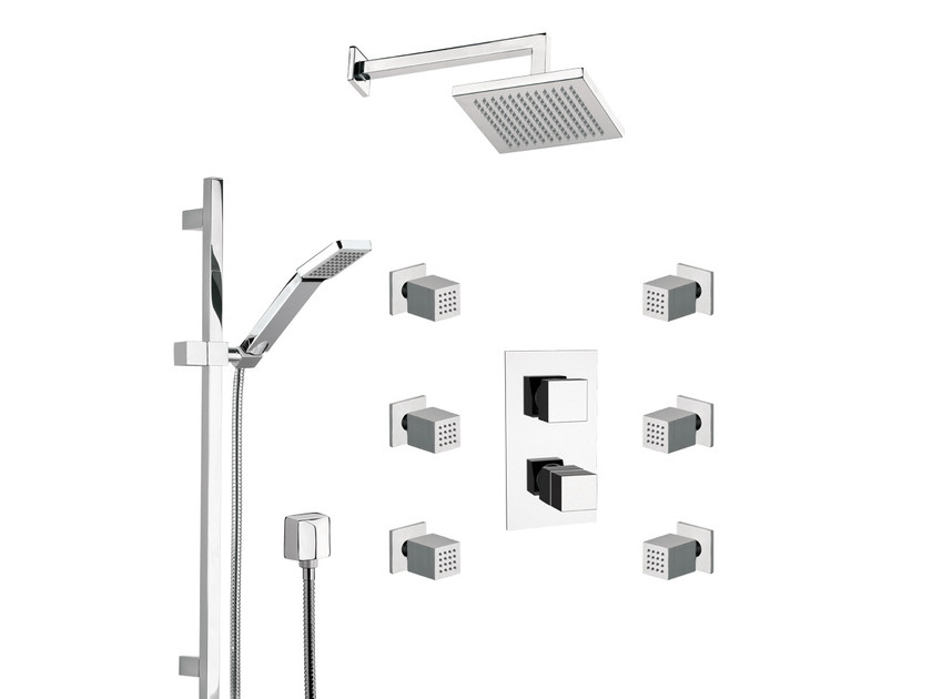 Shower wallbar with hand shower with mixer tap with overhead shower QUBIKA THERMO | Set doccia - Remer Rubinetterie