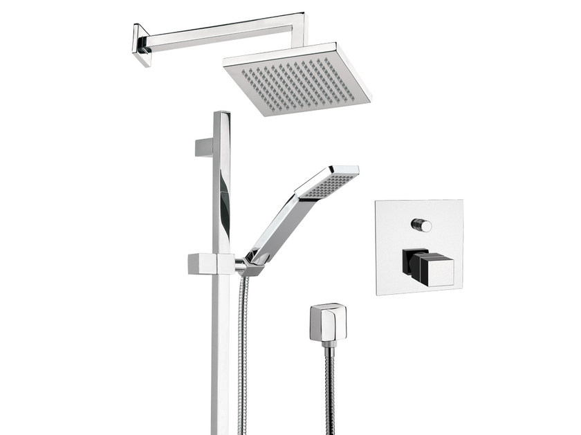 Thermostatic shower mixer with overhead shower QUBIKA THERMO | Thermostatic shower mixer - Remer Rubinetterie