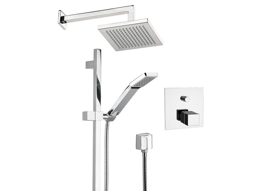 Shower wallbar with hand shower with mixer tap with overhead shower QUBIKA THERMO - Remer Rubinetterie
