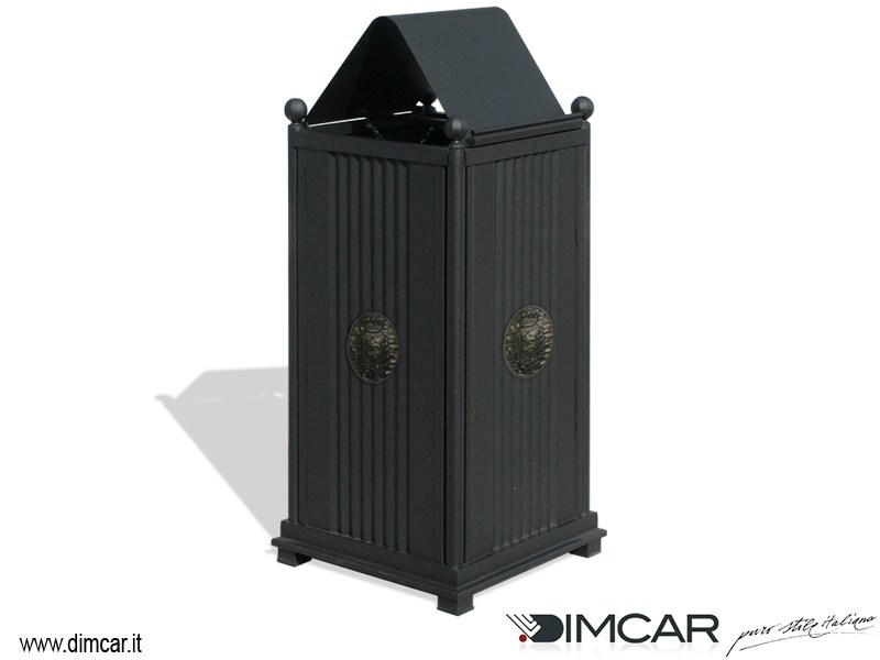 Outdoor metal waste bin with lid Cestone Sassari con coperchio - DIMCAR