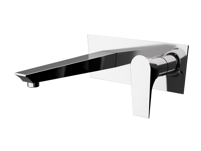 Wall-mounted chrome-plated washbasin mixer with plate DIVA | Wall-mounted washbasin mixer - Daniel Rubinetterie