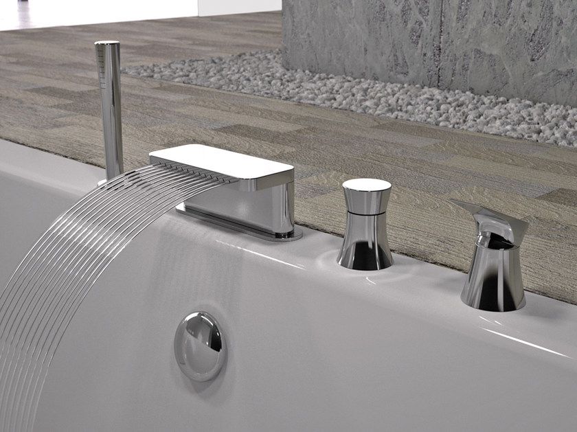 4 hole bathtub set with hand shower DIVA | 4 hole bathtub set by Daniel Rubinetterie