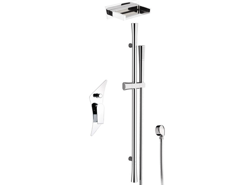 Shower wallbar with hand shower with mixer tap with overhead shower DIVA - Daniel Rubinetterie