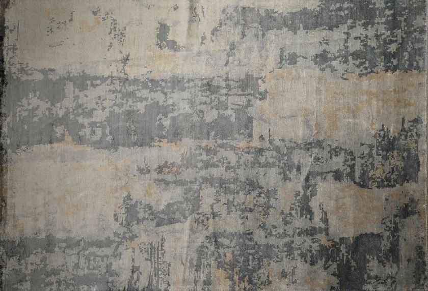 Patterned rectangular bamboo fibre rug LOFT L13C by Mohebban