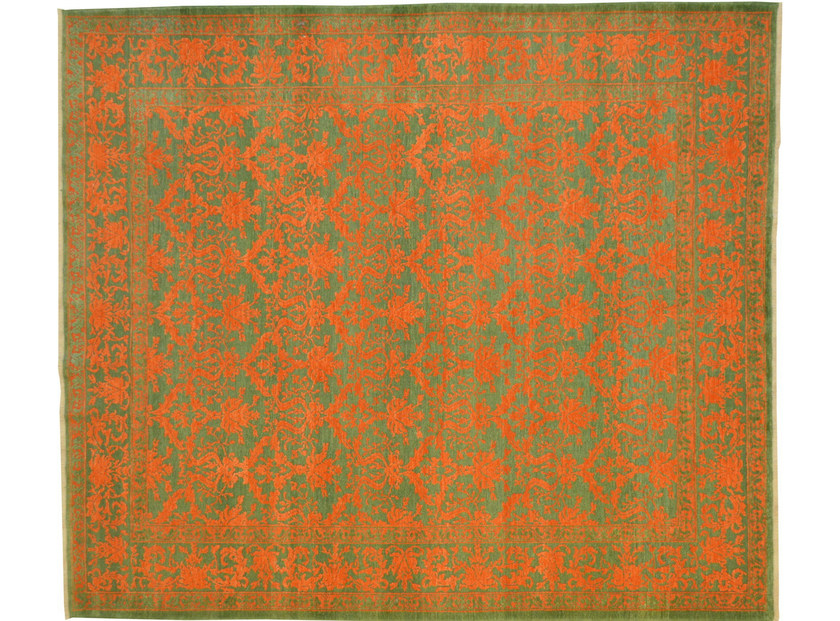 Patterned rectangular wool rug D115126 | Rug - Mohebban