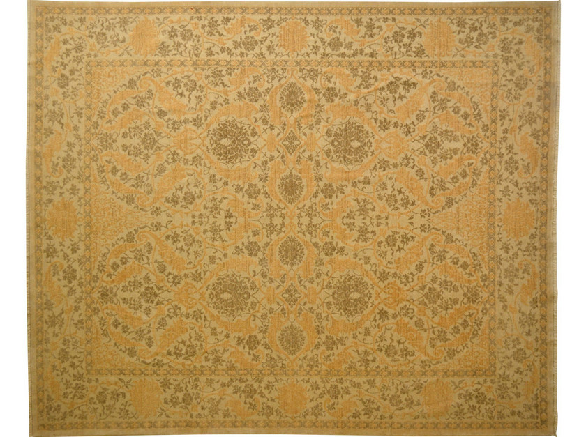 Patterned rectangular wool rug D151020 | Rug - Mohebban
