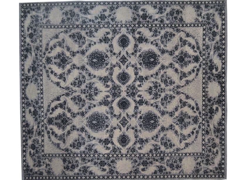 Patterned rectangular wool rug D151517 | Rug - Mohebban