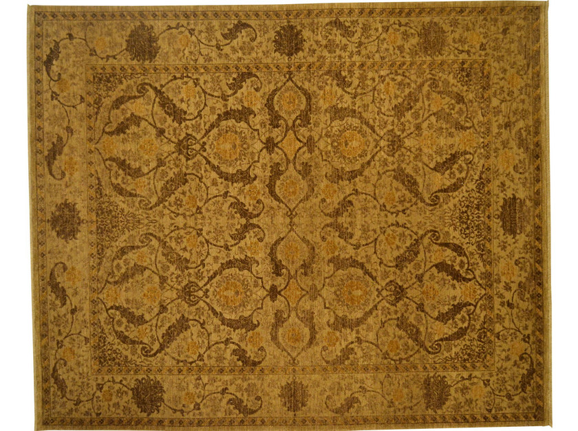 Patterned rectangular wool rug D153234 | Rug - Mohebban