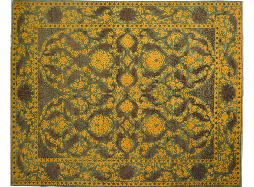 Patterned rectangular wool rug D155139 | Rug - Mohebban