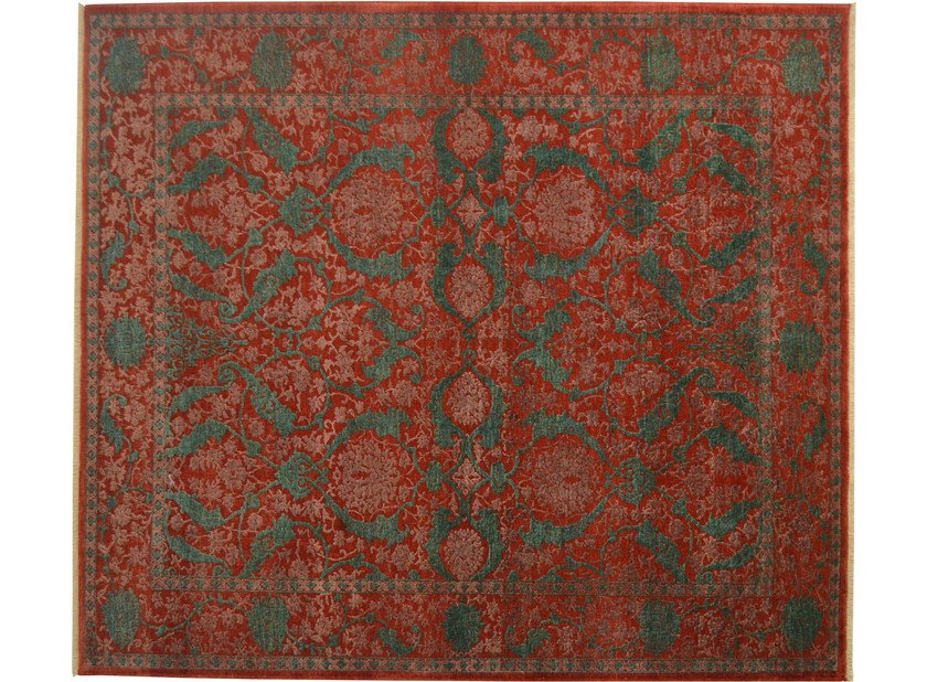 Patterned rectangular wool rug D154652 | Rug - Mohebban