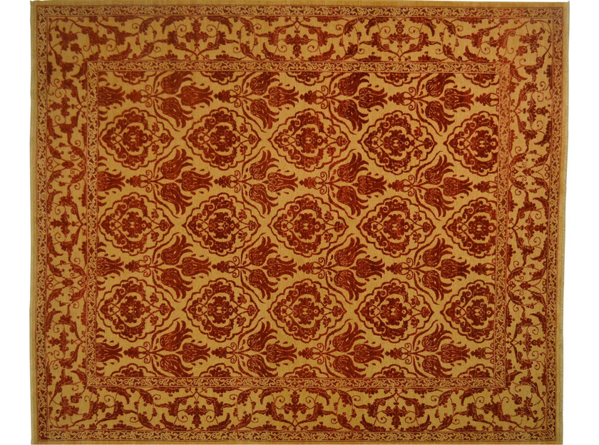 Patterned rectangular wool rug D102242 | Rug - Mohebban