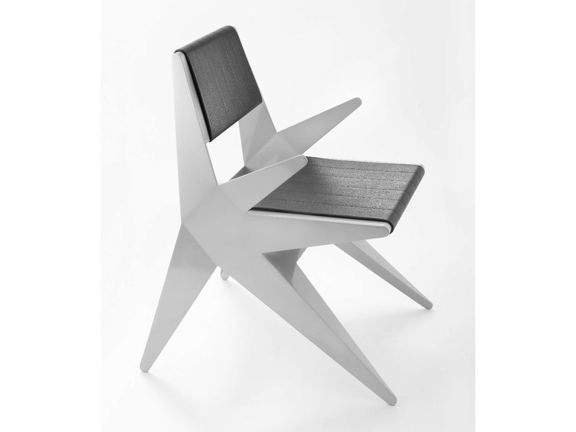 Upholstered aluminium chair with armrests STAR | Chair with armrests - Lamberti Decor