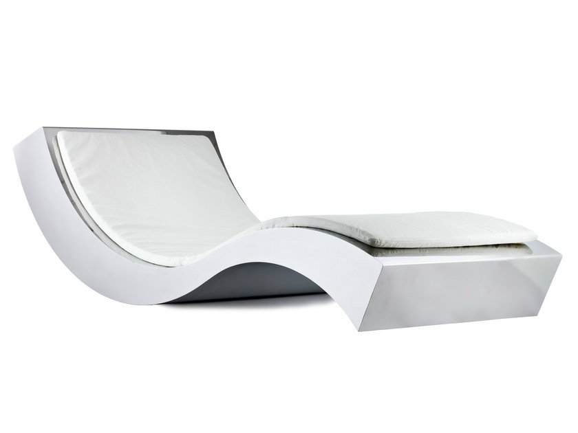 Upholstered aluminium lounge chair ONDA S - Lamberti Decor