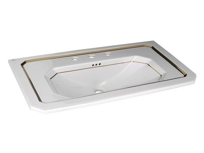 Console rectangular washbasin with overflow IMAGINE | Single washbasin - NOKEN DESIGN