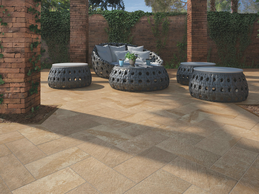 Porcelain stoneware outdoor floor tiles with stone effect PATIO - Casalgrande Padana