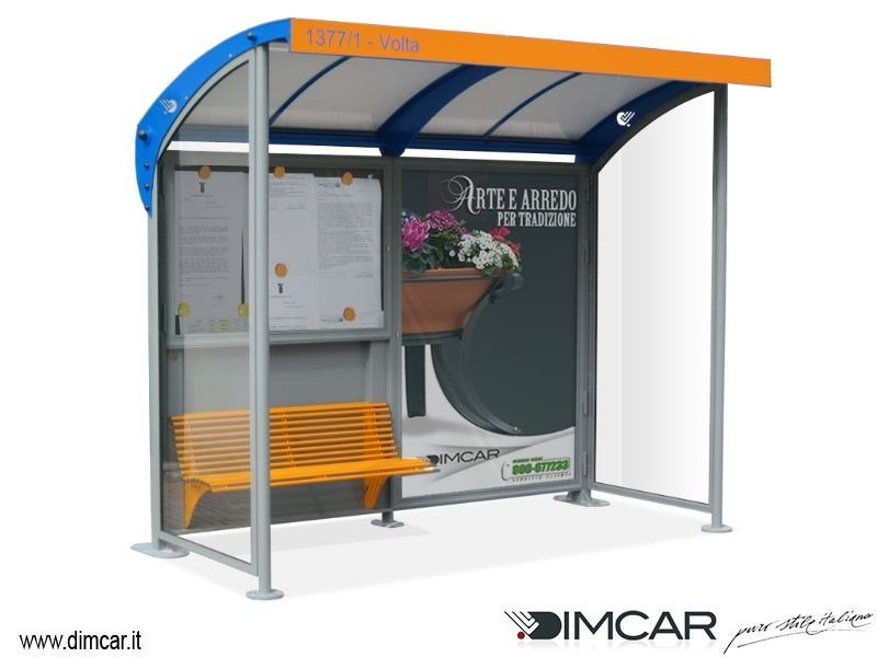 Steel porch with built-in lights for bus stop Pensilina Romagna con pareti laterali - DIMCAR