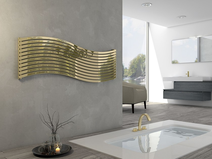 Hot-water stainless steel decorative radiator LOLA GOLD by CORDIVARI