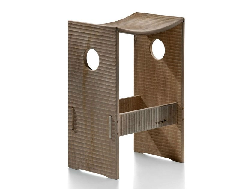 Contemporary style wooden stool CORTE - HABITO by Giuseppe Rivadossi